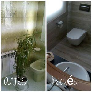 Antes y después baño elegante