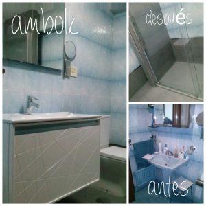 Antes y después pequeña reforma de un baño.