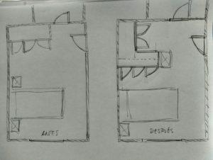 plano antes y después reforma dormitorio